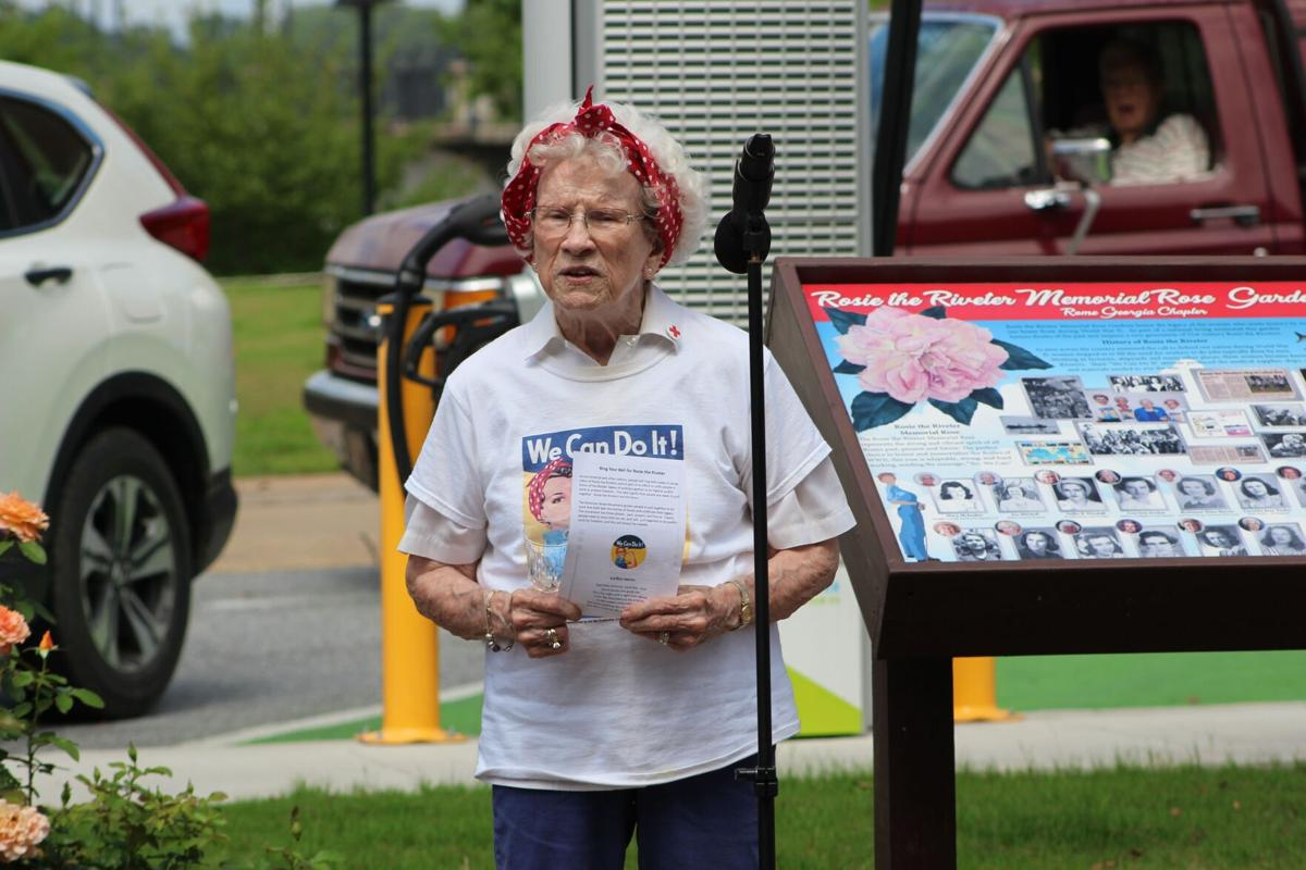 Small crowd gathers at Rosie the Riveter Garden to celebrate Rosies