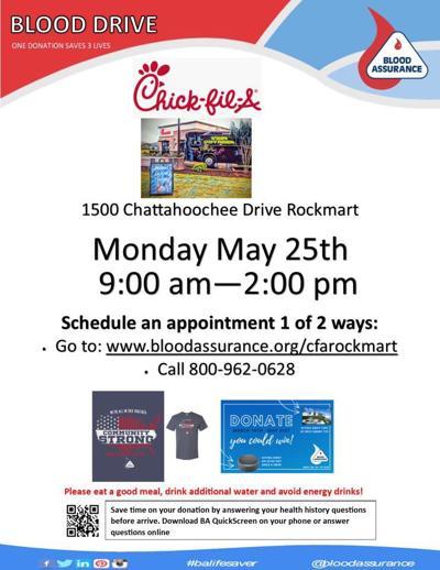 Blood Assurance May 25 Rockmart blood drive