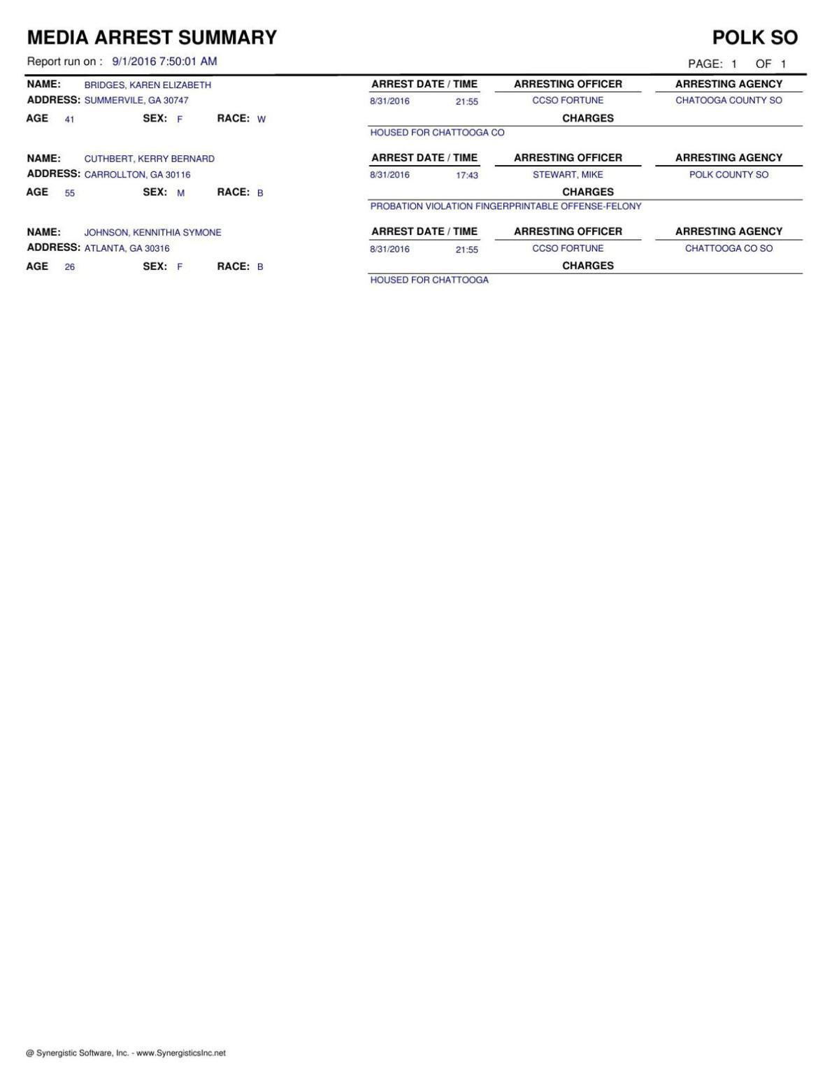 Polk arrest document dated January 21, 2015