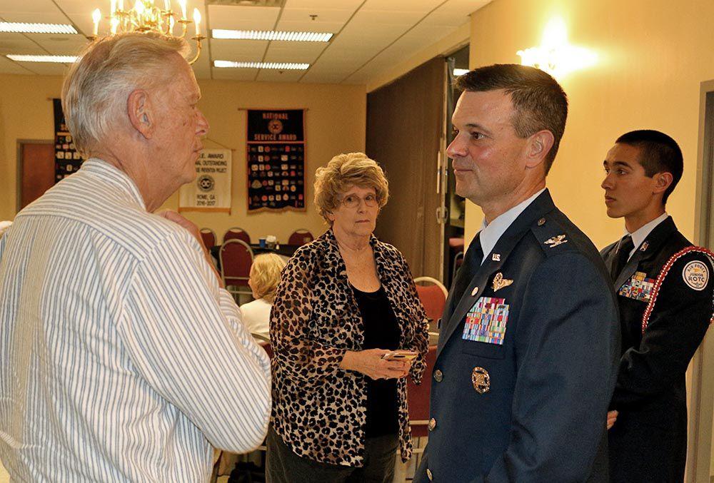David Schreiber and JROTC Col. Seaborn Whatley