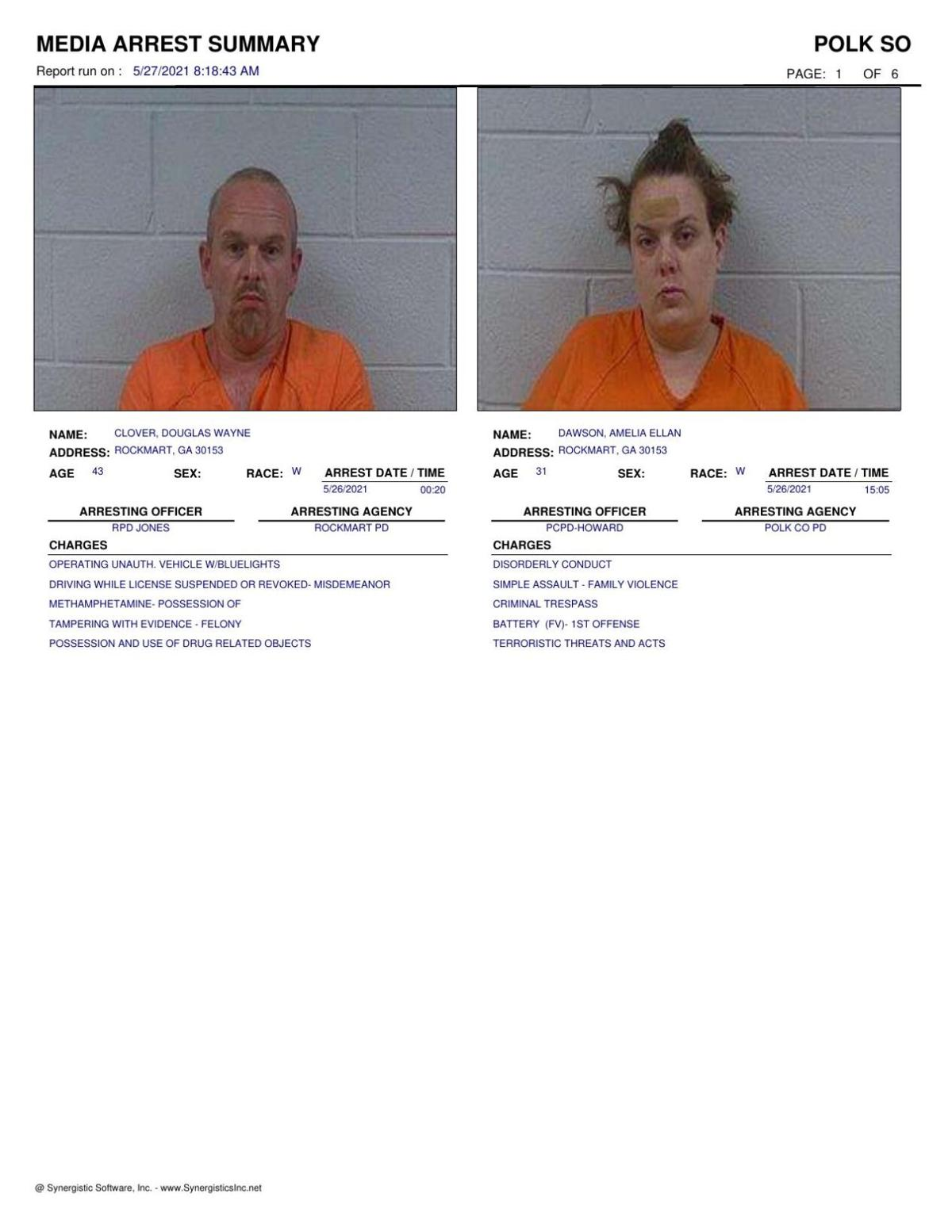 Polk County Jail Report for Thursday, May 27