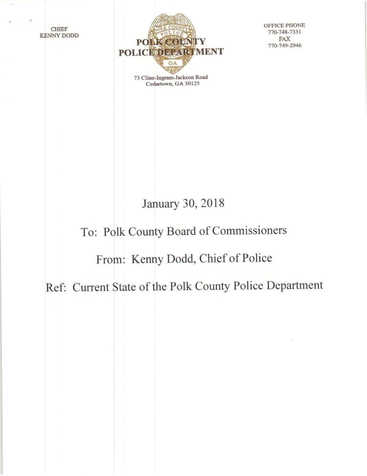 Polk County Police Department Annual Report - Jan. 30, 2018
