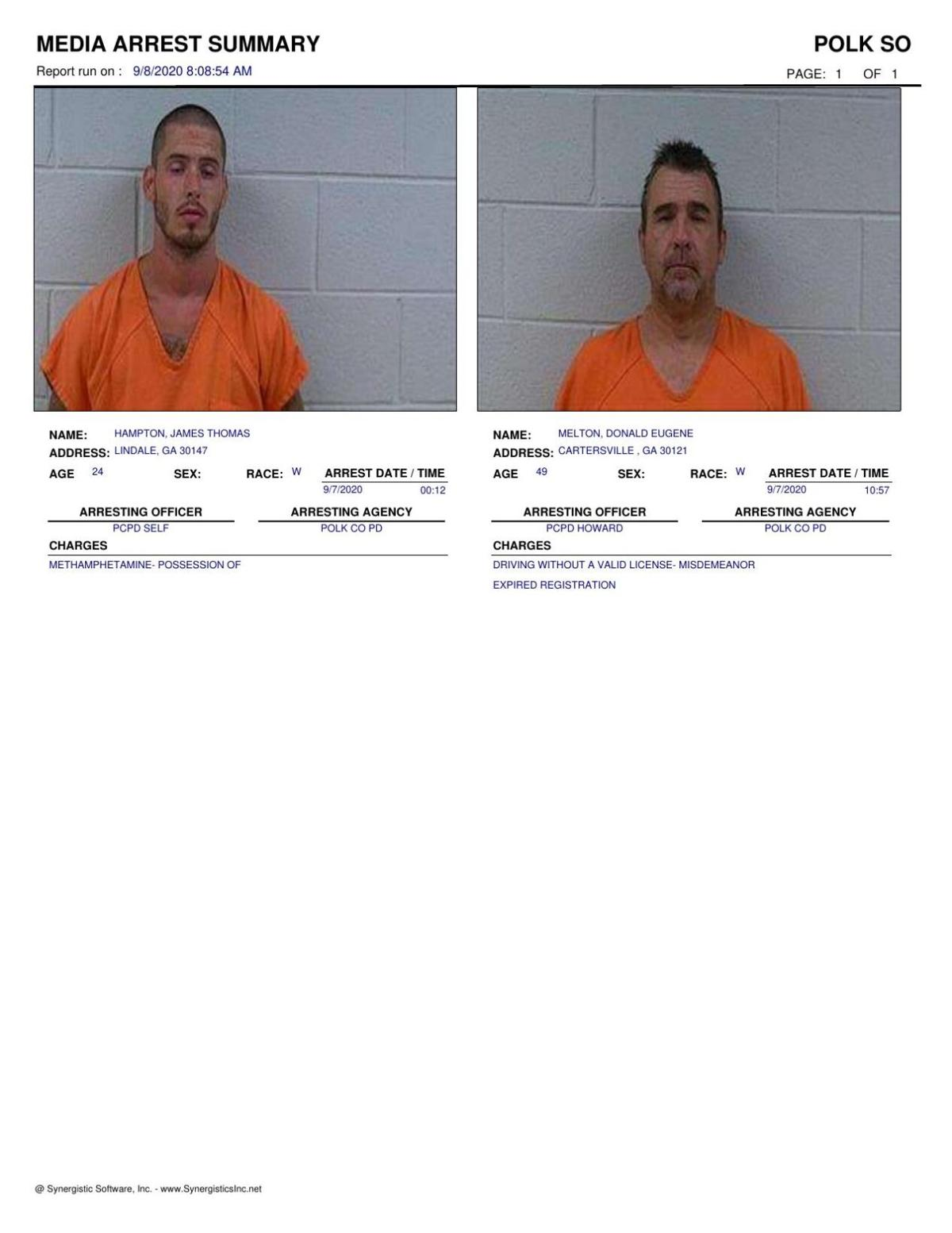 Polk County Jail Report for Tuesday, Sept. 8