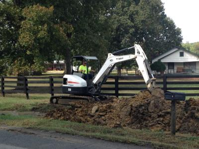 Digging for ruptured water lines