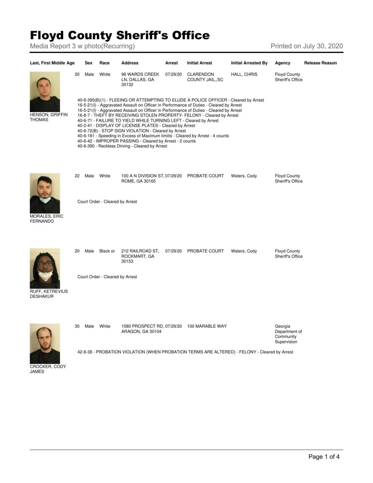 Floyd County Jail report July 30, 8 a.m.