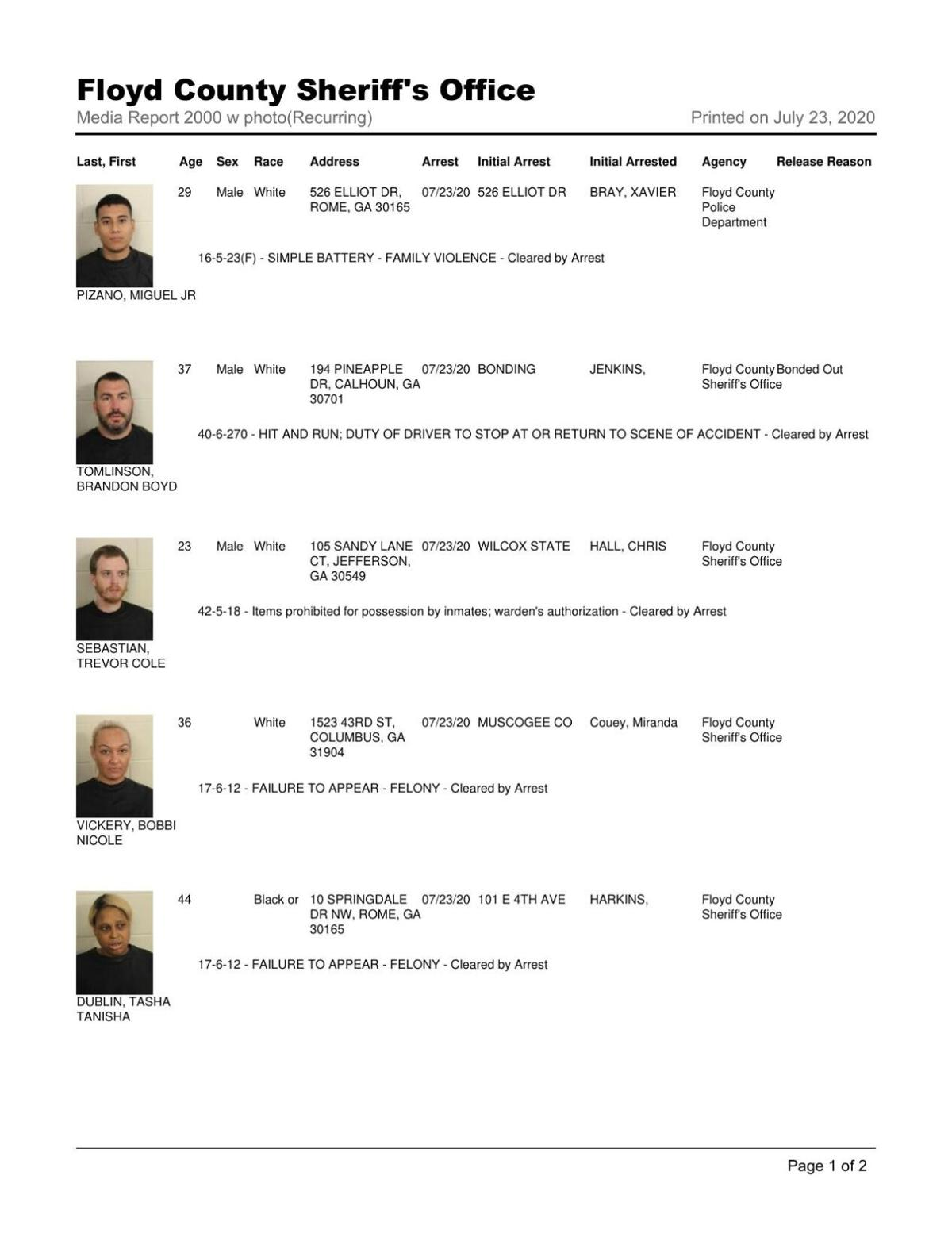 Floyd County Jail report for Thursday, July 23