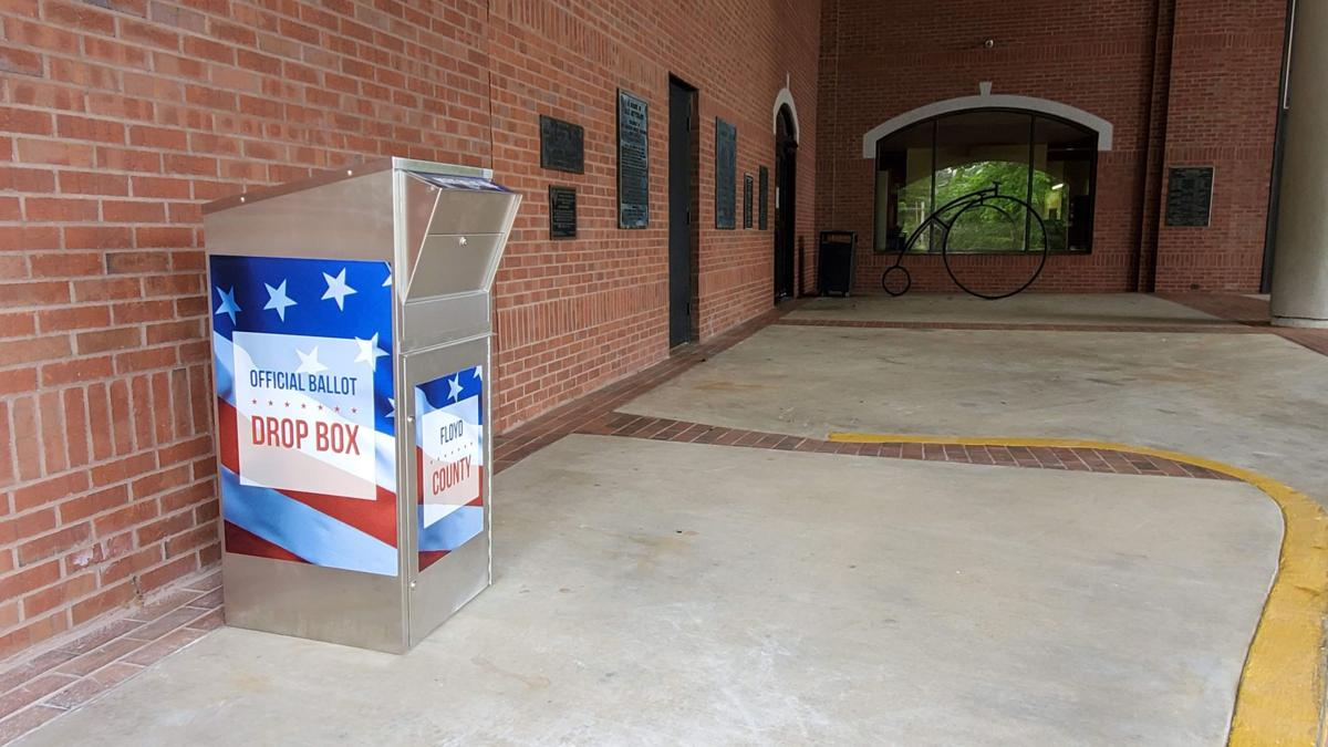 Absentee ballot boxes at the county administration building, library