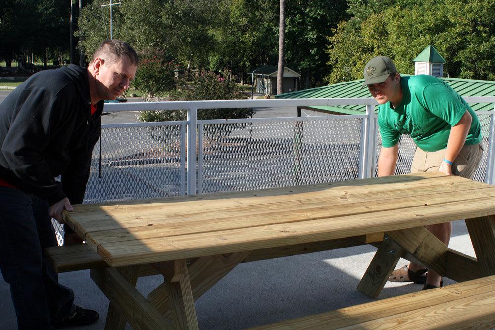 Scout donates tables