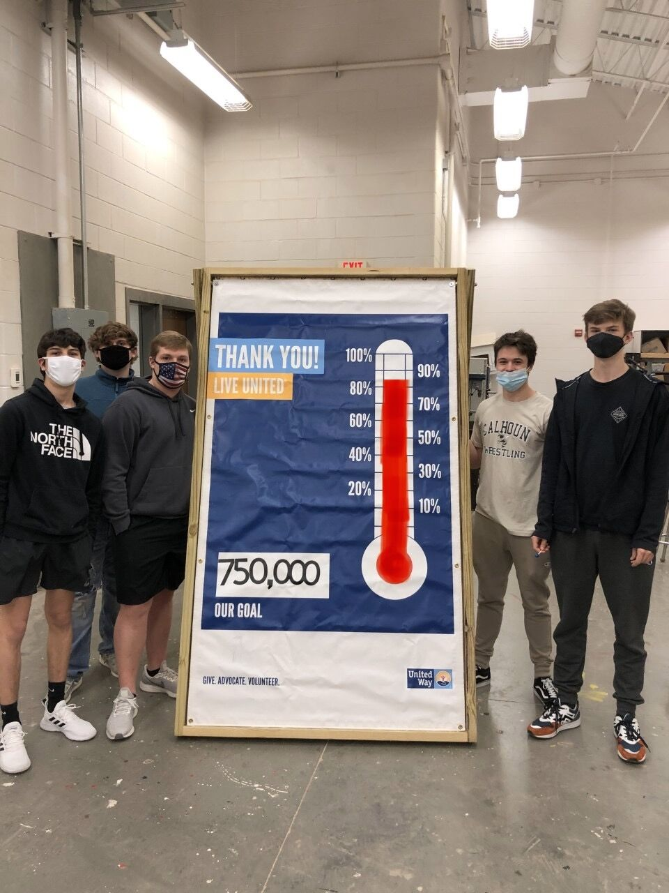 Construction students build campaign thermometer