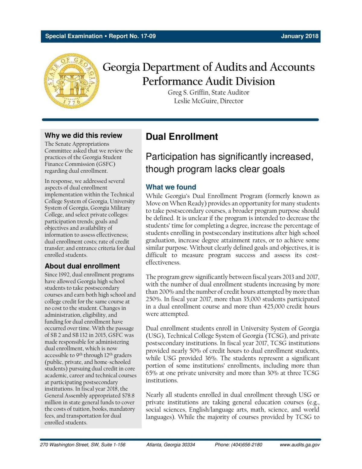 State Dual Enrollment Report