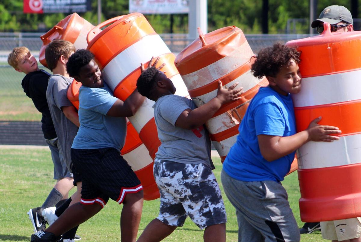 Rockmart Middle School football players put in work