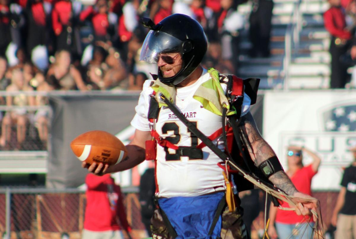 Skydivers drop in on Rockmart football opener