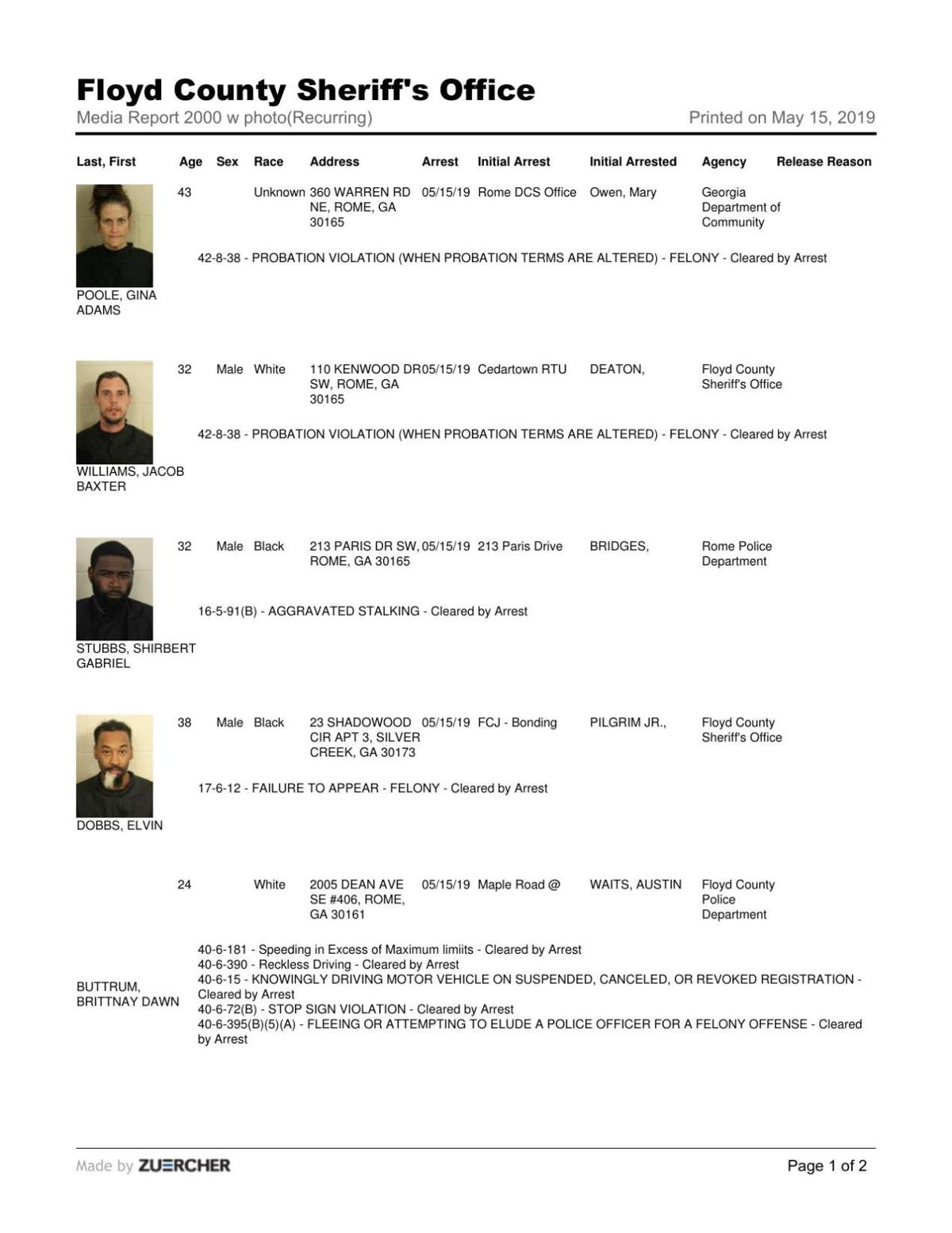 Floyd County Jail report for Wednesday, May 15