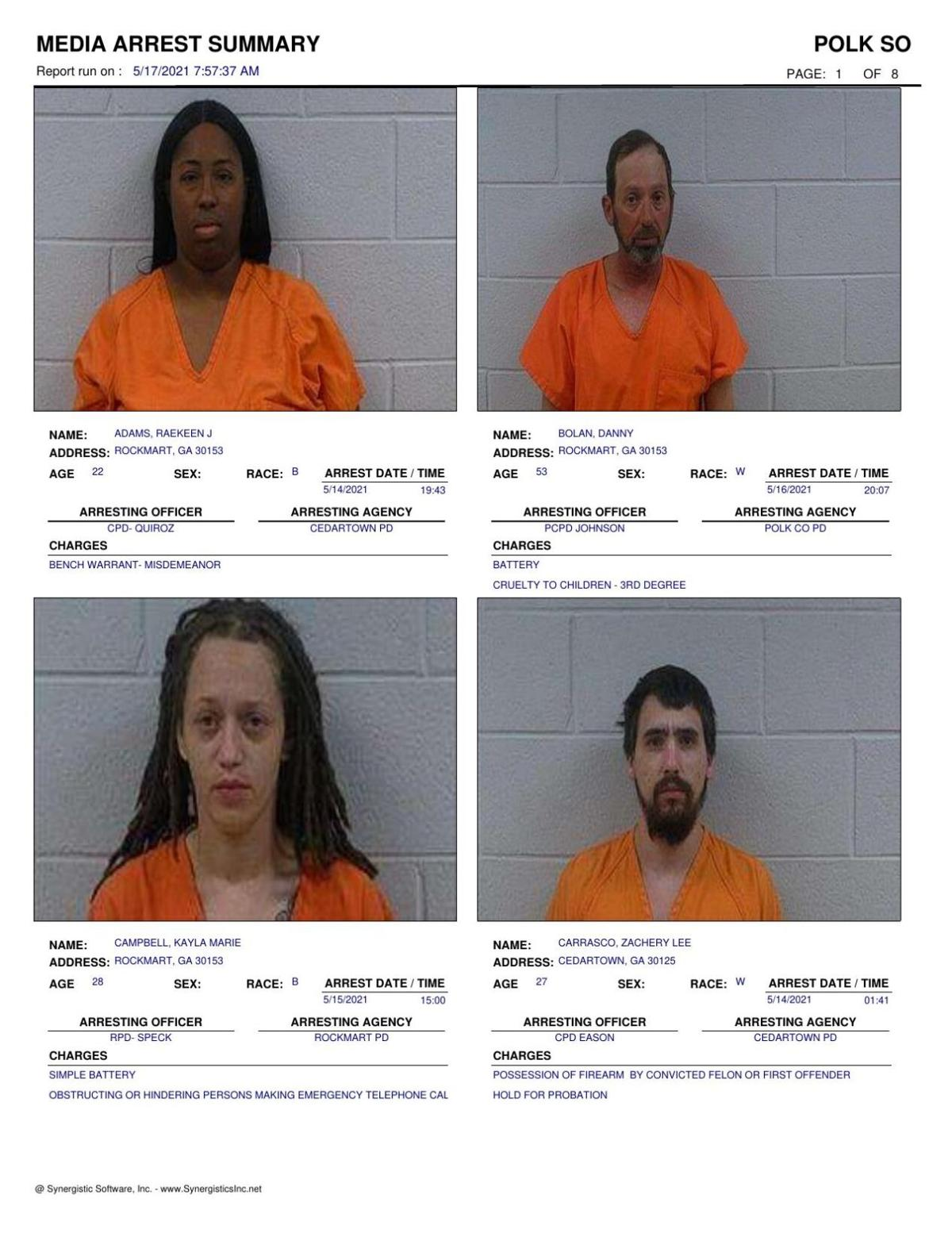 Polk County Jail Report for Monday, May 17