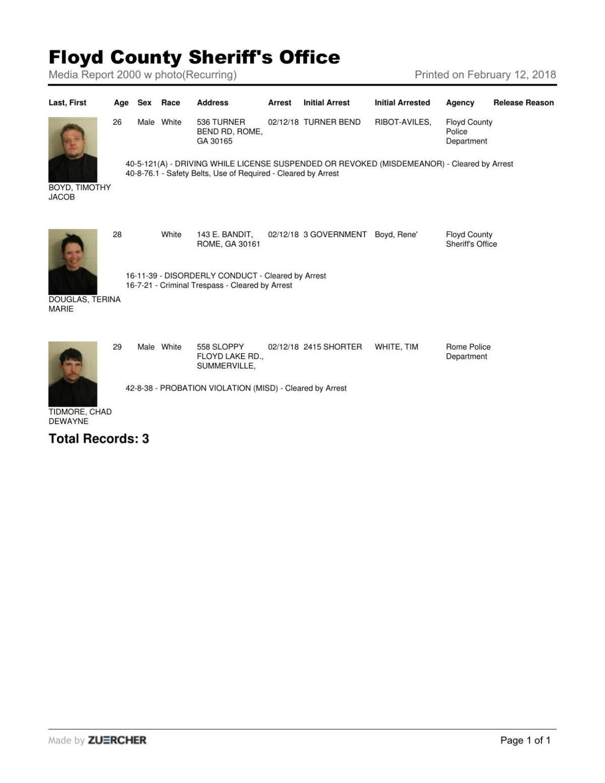 Floyd County Jail reports Feb. 12, 8 p.m.