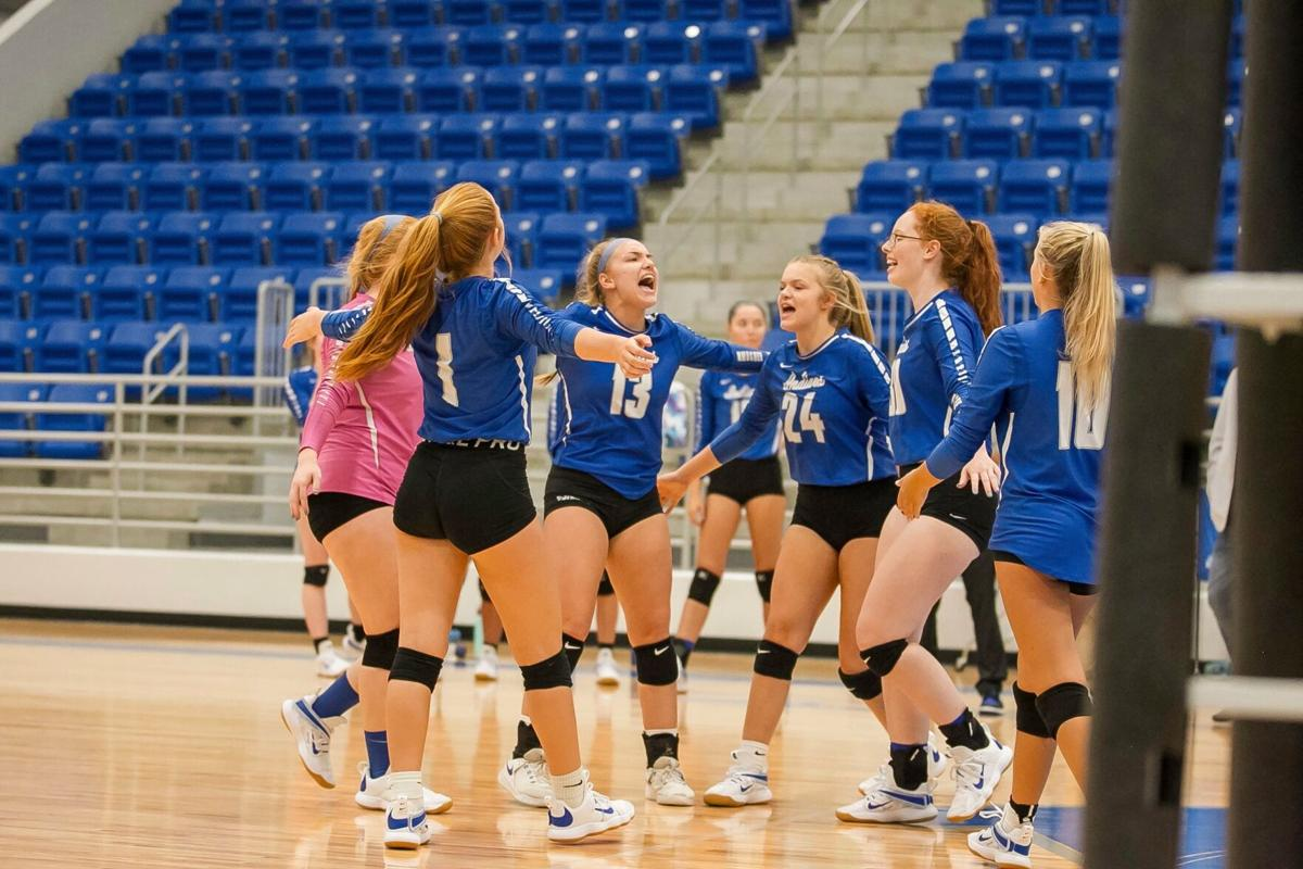 Armuchee volleyball vs. Pepperell - point celebration