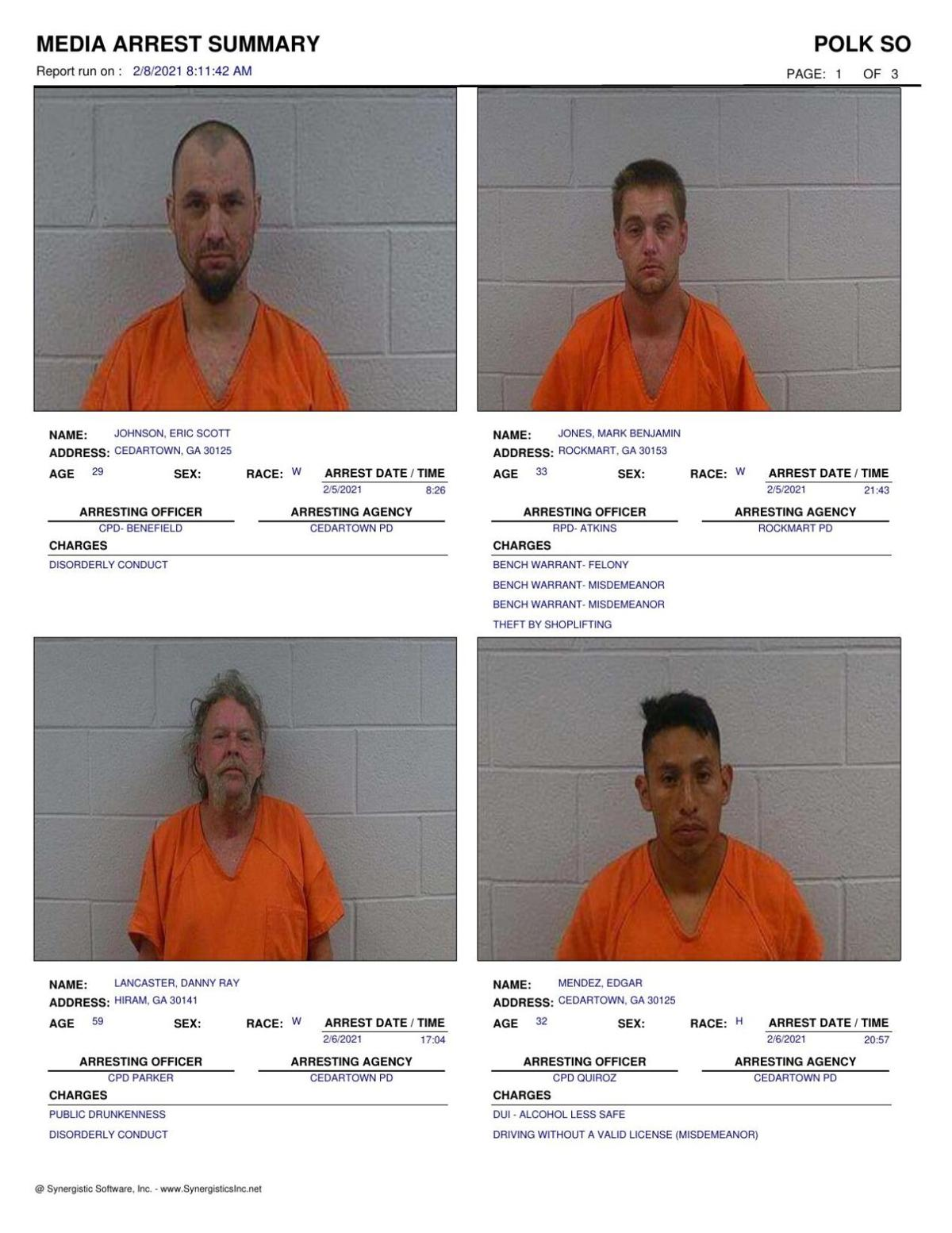 Polk County Jail Report for Monday, Feb. 8