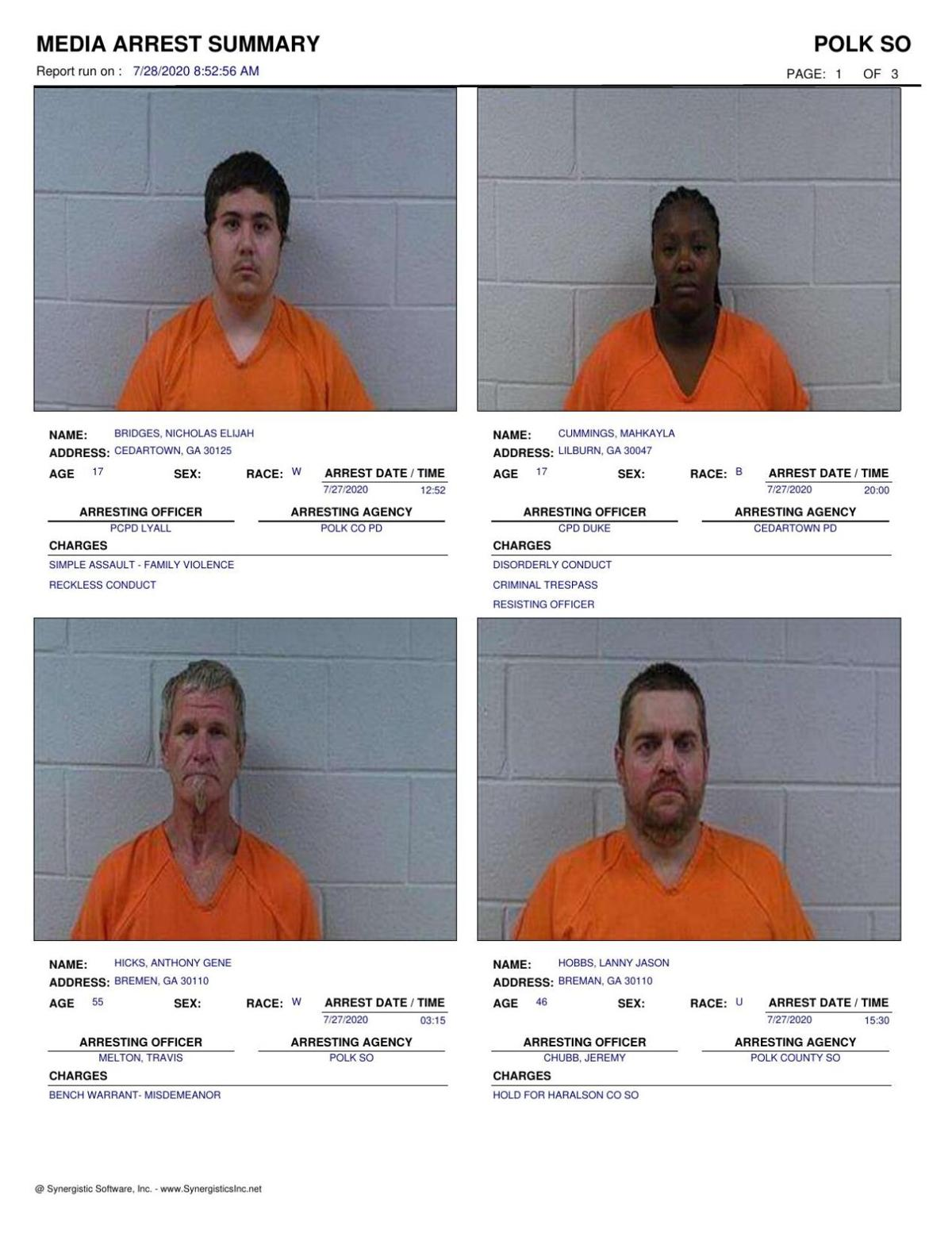 Polk County Jail Report for Tuesday, July 28