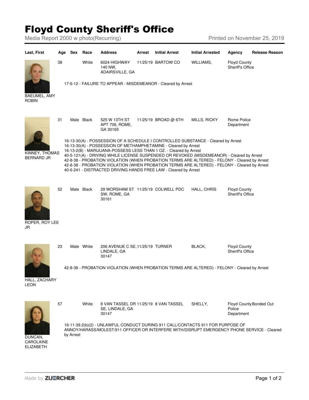 Floyd County Jail report for Monday, Nov. 25