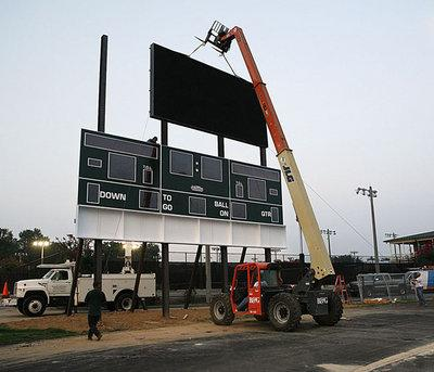 New scoreboard going up at Barron