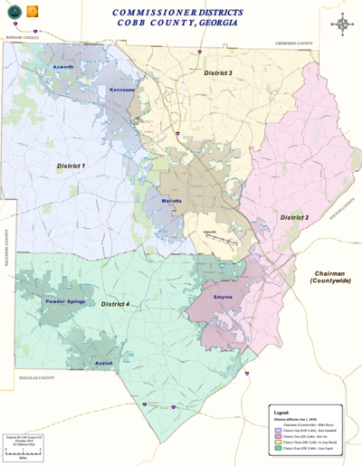 Map of Cobb County Commission districts -- 2020