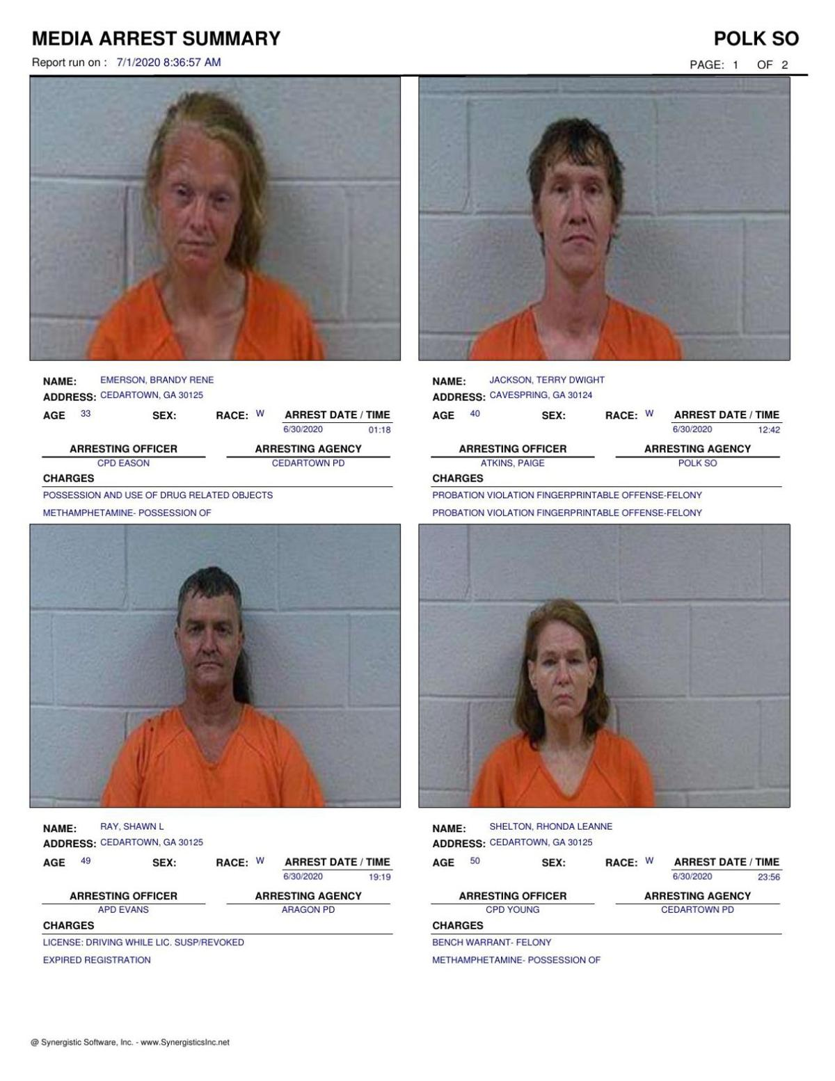 Polk County Jail Report for Wednesday, July 1