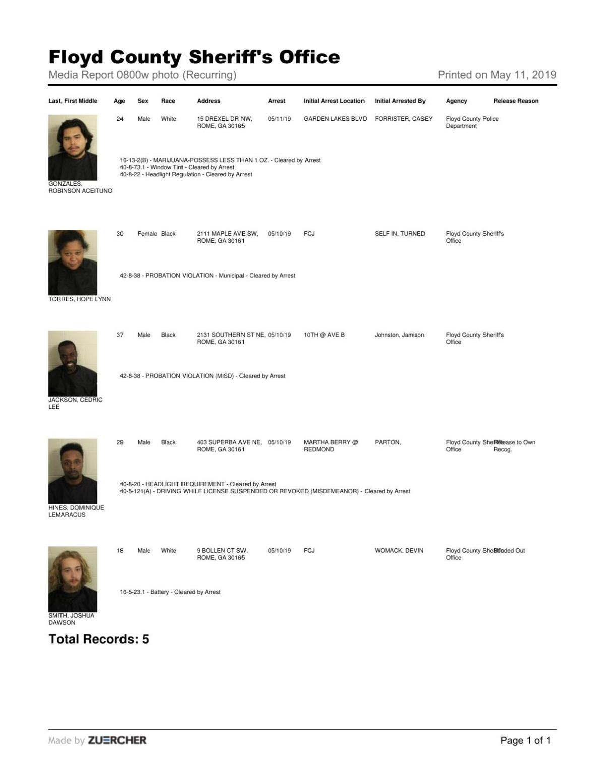 Jail report for 8 a.m. Saturday May 11