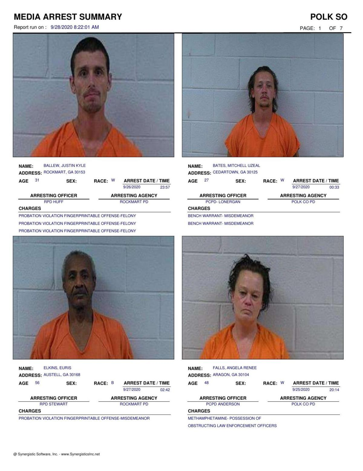 Polk County Jail Report for Monday, Sept. 28