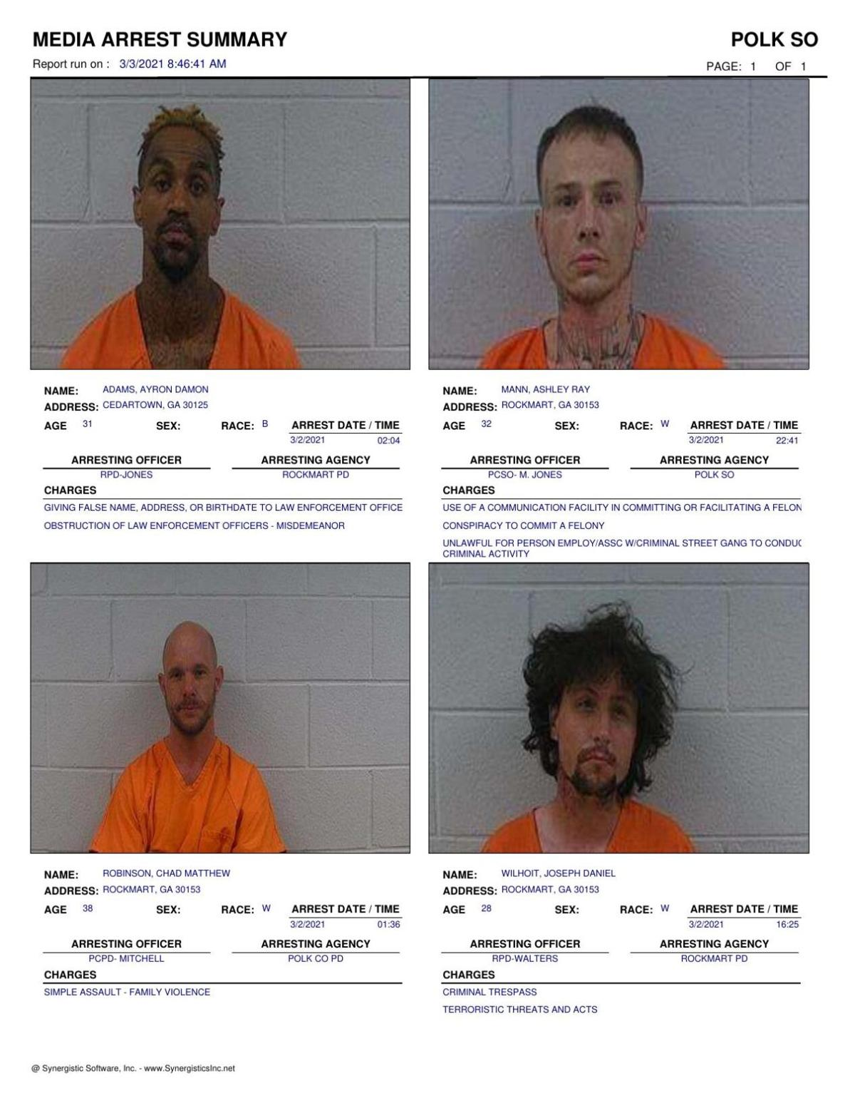 Polk County Jail Report for Wednesday, March 3