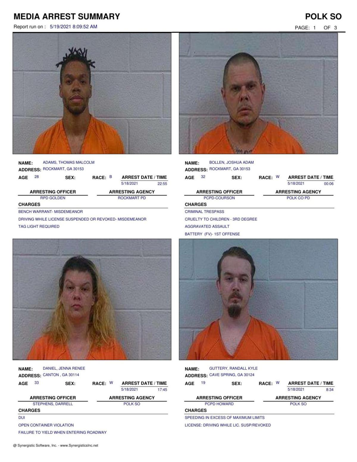 Polk County Jail Report for Wednesday, May 19