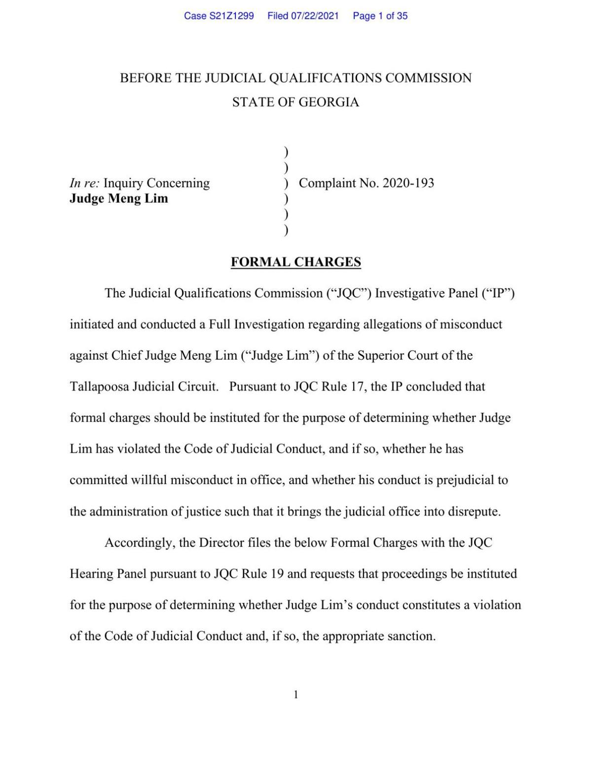 Filing of formal charges against Judge Meng Lim by the Georgia JQC