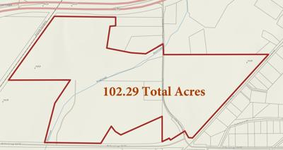 Map show land under option to Rome-Floyd County Development Authority