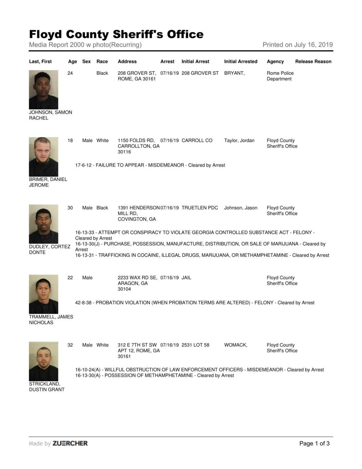 Floyd County Jail report for Tuesday, July 16 | Police/Fire news