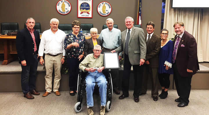 City of Calhoun honors WWII veteran with Key to the City at recent meeting