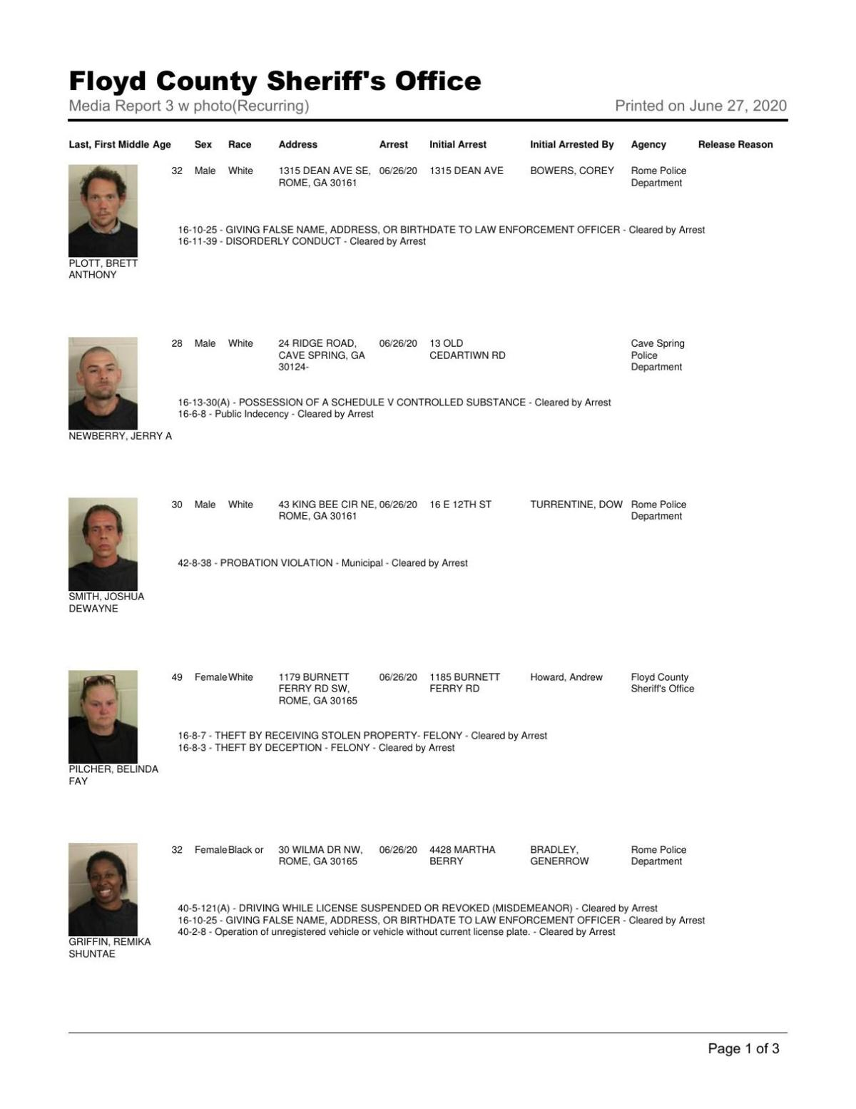 Floyd County Jail report June 27, 8 a.m.