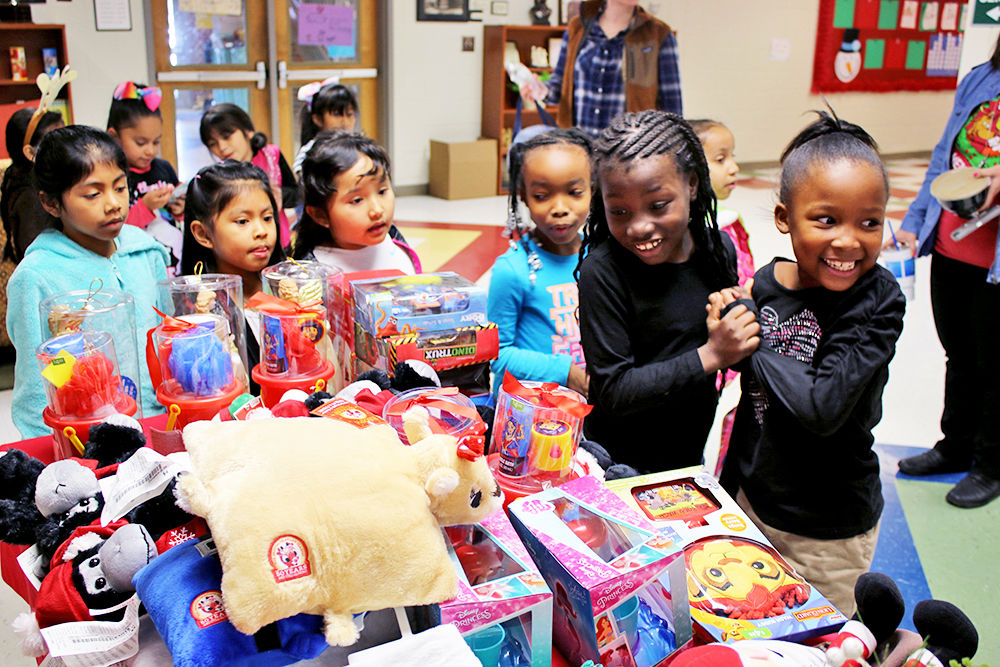 Elm Street Elementary students shop for presents at the PTO's Santa Shop