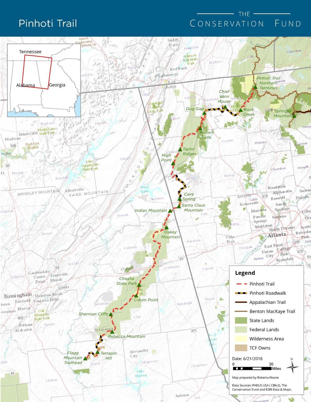 Pinhoti Trail Map