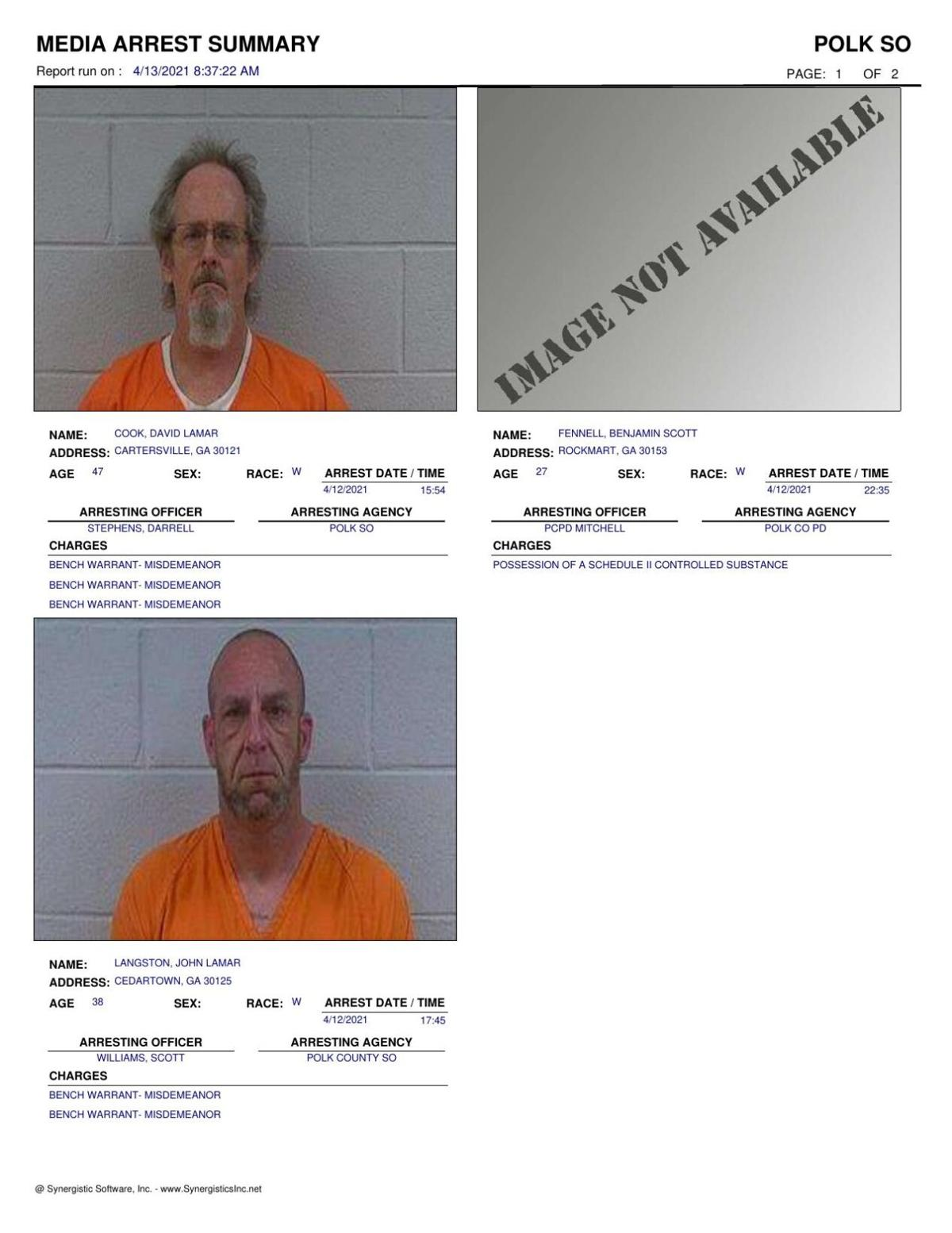 Polk County Jail Report for Tuesday, April 13