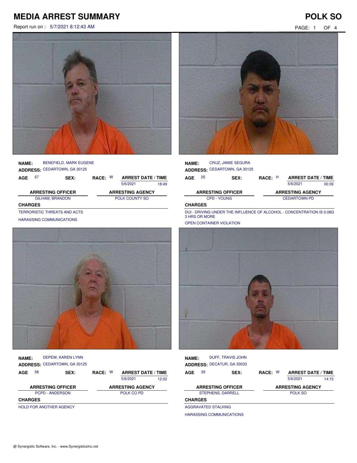 Polk County Jail Report for Friday, May 7