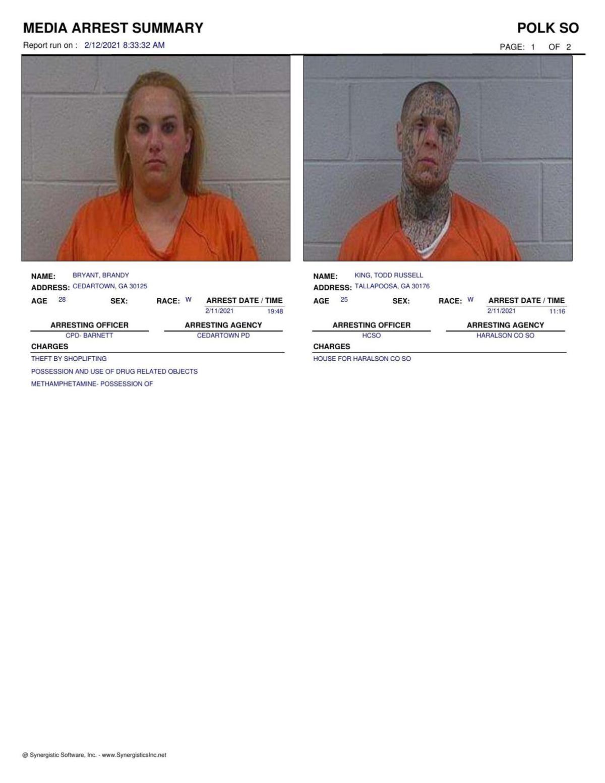Polk County Jail Report for Friday, Feb. 12
