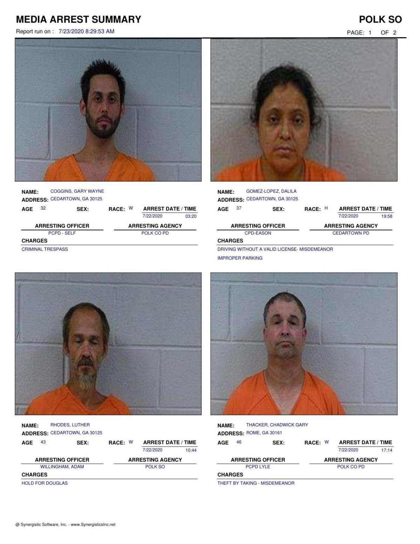 Polk County Jail Report for Thursday, July 23
