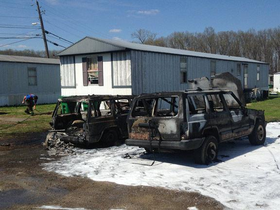 Two Vehicles Catch Fire At Rossville Mobile Home Park Three People Injured