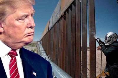 Trump - muro fronterizo - montaje - febrero 18 2019