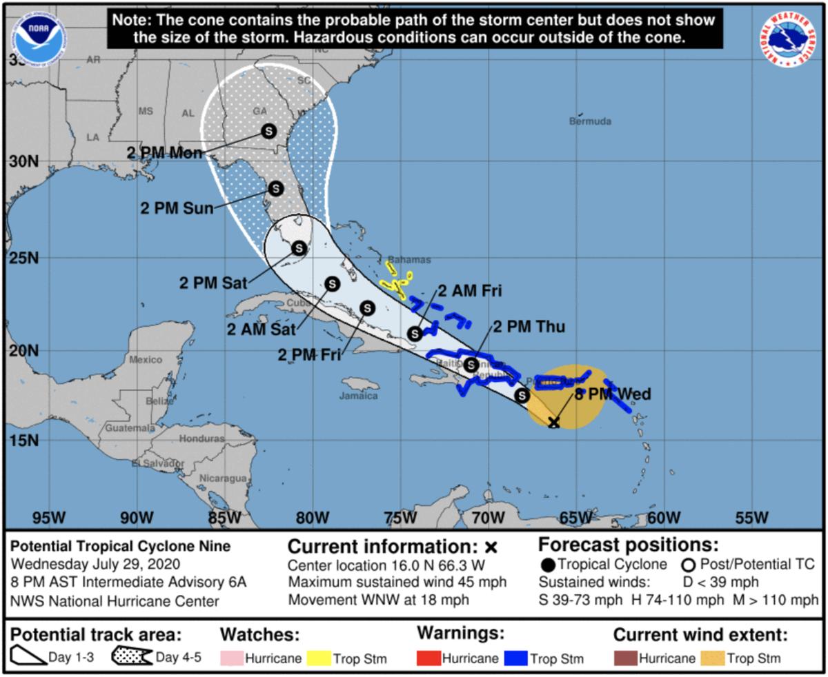 Potencial ciclón ahora se traslada 18 millas por hora