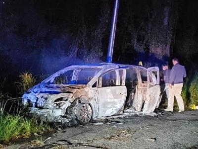 Policia - Ciales - auto quemado - Foto suministrada - abril 5 2021