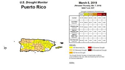Sequia - mapa - Puerto Rico - marzo 7 2019
