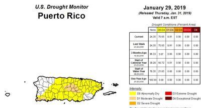 Sequia - mapa - Puerto Rico - enero 31 2019