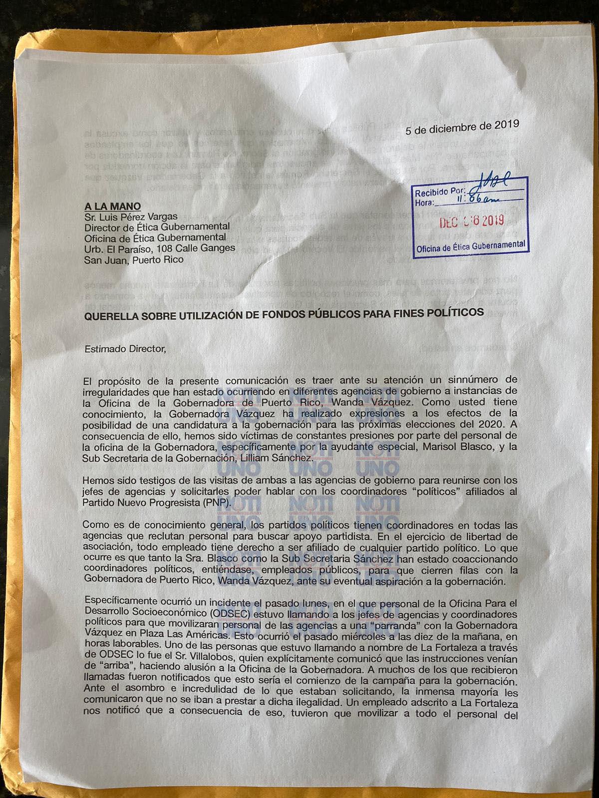 Documento contra gobernadora WV - diciembre 10 2019