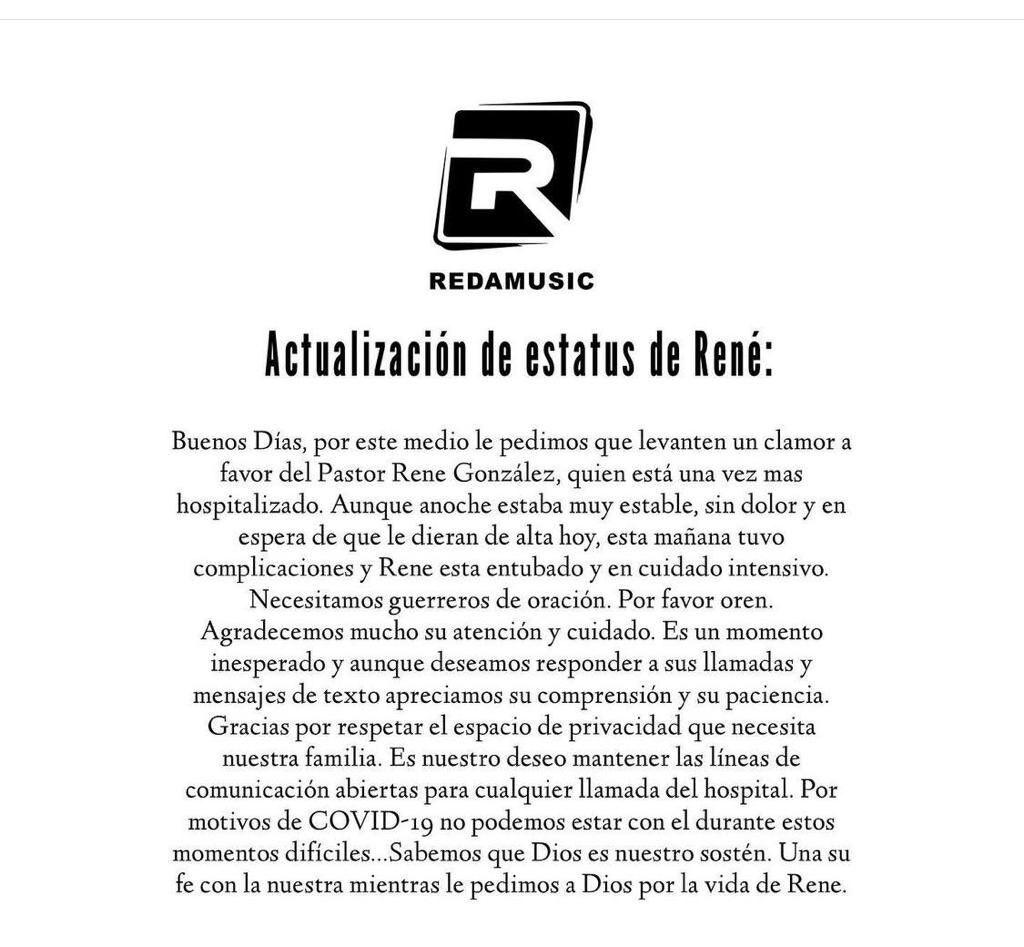 Rene Gonzalez - comunicado de su salud - febrero 9 2021
