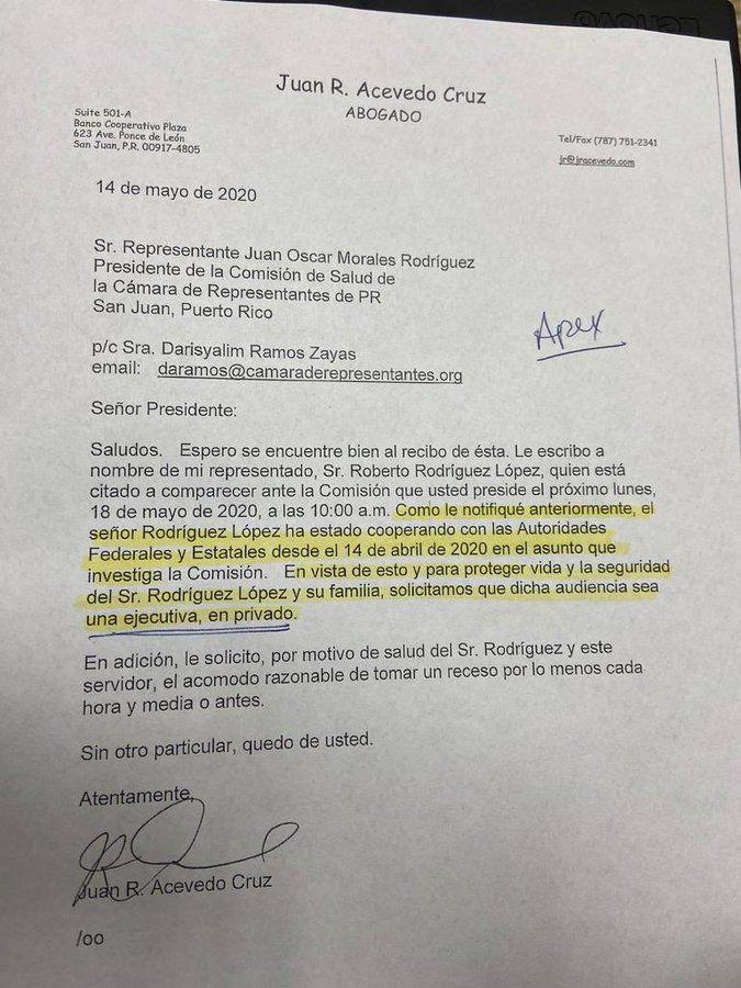 Apex - presidente - admite colabora con autoridades federales - Foto suministrada - mayo 18 2020